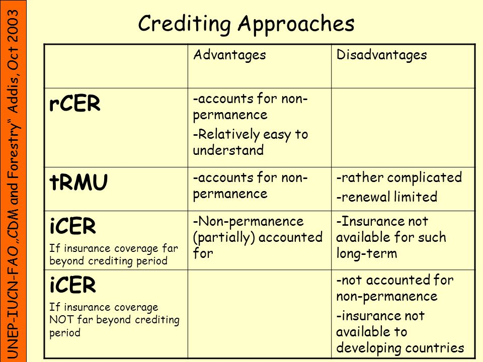 UNEP-IUCN-FAO CDM and Forestry Addis, Oct 2003 Crediting Approaches AdvantagesDisadvantages rCER -accounts for non- permanence -Relatively easy to understand tRMU -accounts for non- permanence -rather complicated -renewal limited iCER If insurance coverage far beyond crediting period -Non-permanence (partially) accounted for -Insurance not available for such long-term iCER If insurance coverage NOT far beyond crediting period -not accounted for non-permanence -insurance not available to developing countries