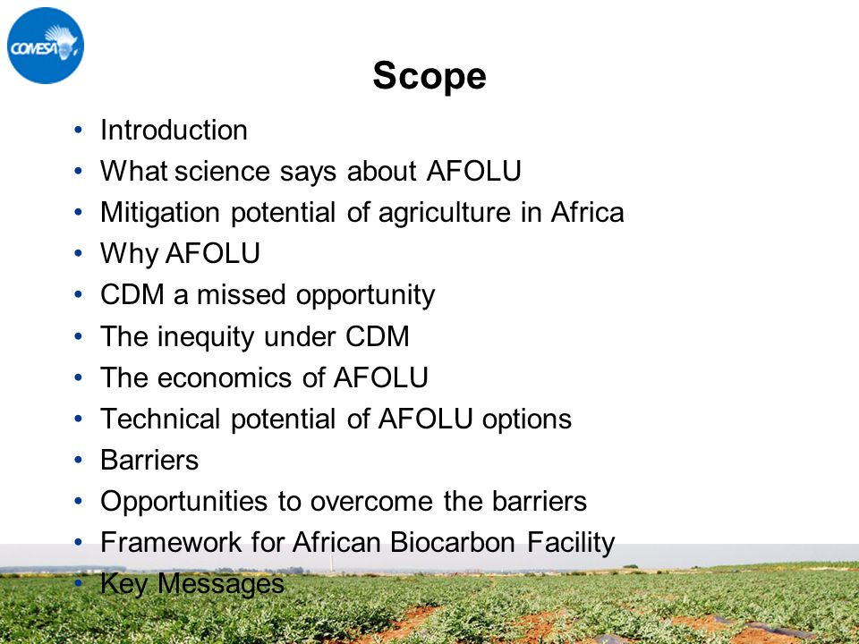 Scope Introduction What science says about AFOLU Mitigation potential of agriculture in Africa Why AFOLU CDM a missed opportunity The inequity under CDM The economics of AFOLU Technical potential of AFOLU options Barriers Opportunities to overcome the barriers Framework for African Biocarbon Facility Key Messages
