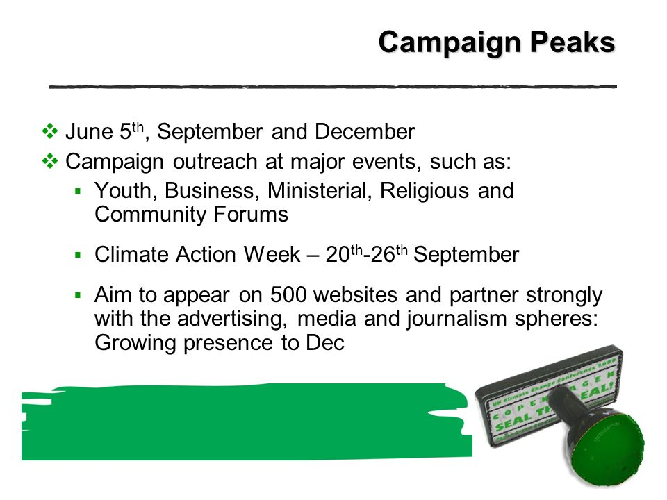 Campaign Peaks June 5 th, September and December Campaign outreach at major events, such as: Youth, Business, Ministerial, Religious and Community Forums Climate Action Week – 20 th -26 th September Aim to appear on 500 websites and partner strongly with the advertising, media and journalism spheres: Growing presence to Dec