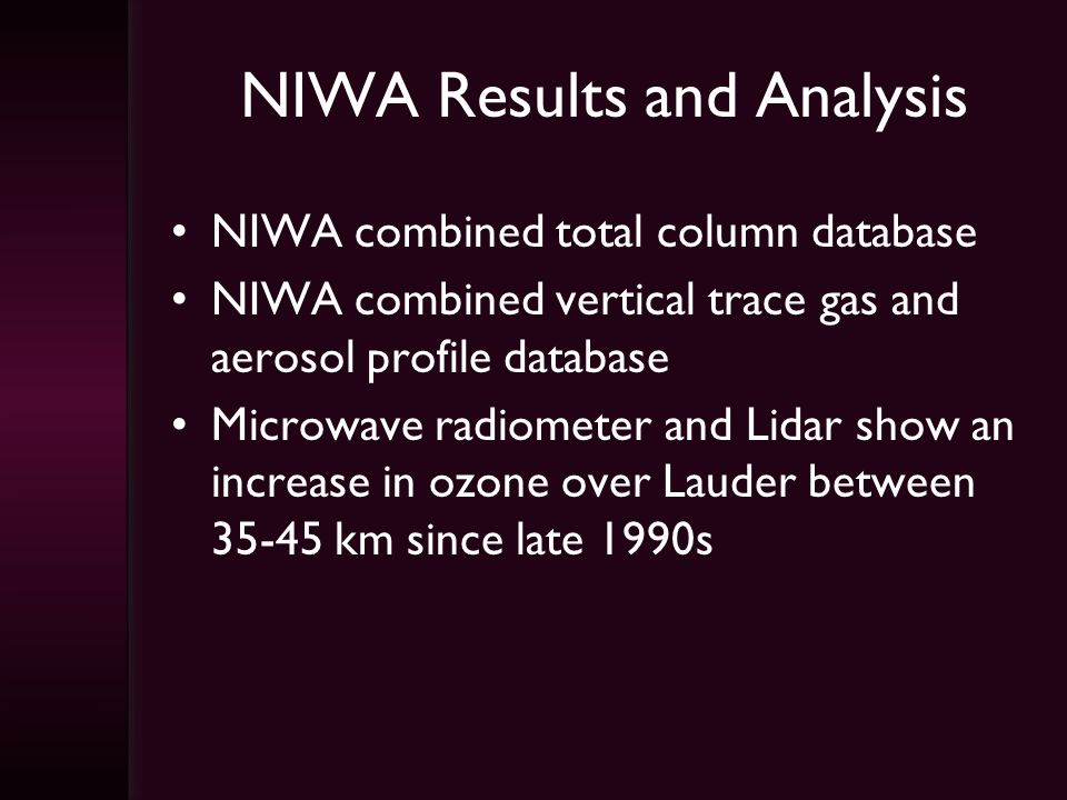 NIWA Results and Analysis NIWA combined total column database NIWA combined vertical trace gas and aerosol profile database Microwave radiometer and Lidar show an increase in ozone over Lauder between 35-45 km since late 1990s