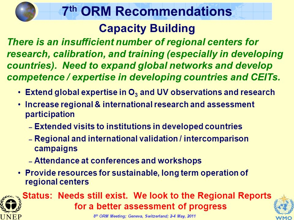 8 th ORM Meeting; Geneva, Switzerland; 2-4 May, th ORM Recommendations Capacity Building Extend global expertise in O 3 and UV observations and research Increase regional & international research and assessment participation – Extended visits to institutions in developed countries – Regional and international validation / intercomparison campaigns – Attendance at conferences and workshops Provide resources for sustainable, long term operation of regional centers Status: Needs still exist.