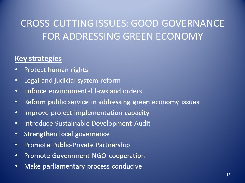 CROSS-CUTTING ISSUES: GOOD GOVERNANCE FOR ADDRESSING GREEN ECONOMY Key strategies Protect human rights Legal and judicial system reform Enforce environmental laws and orders Reform public service in addressing green economy issues Improve project implementation capacity Introduce Sustainable Development Audit Strengthen local governance Promote Public-Private Partnership Promote Government-NGO cooperation Make parliamentary process conducive 12