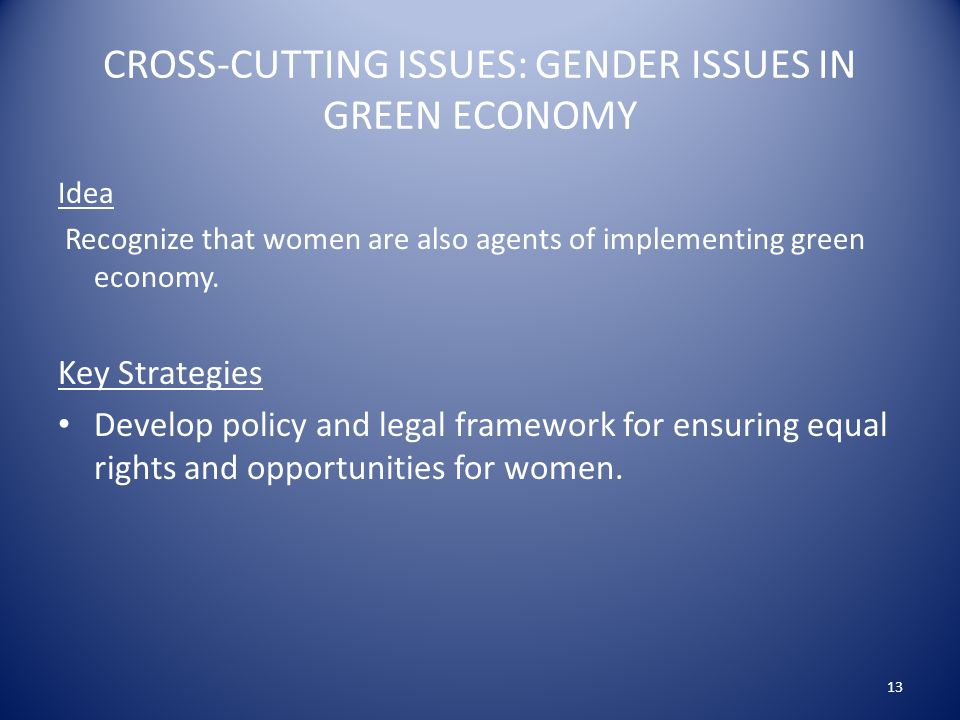 CROSS-CUTTING ISSUES: GENDER ISSUES IN GREEN ECONOMY Idea Recognize that women are also agents of implementing green economy.