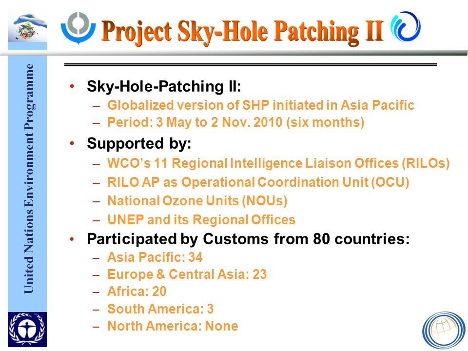 United Nations Environment Programme Sky-Hole-Patching II: –Globalized version of SHP initiated in Asia Pacific –Period: 3 May to 2 Nov.