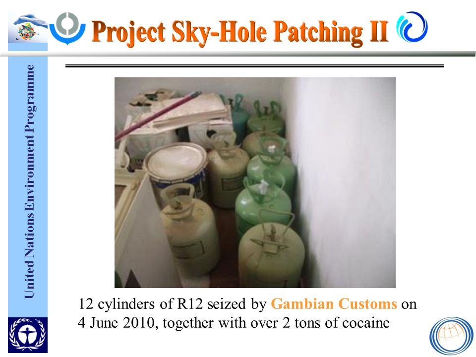 United Nations Environment Programme 12 cylinders of R12 seized by Gambian Customs on 4 June 2010, together with over 2 tons of cocaine
