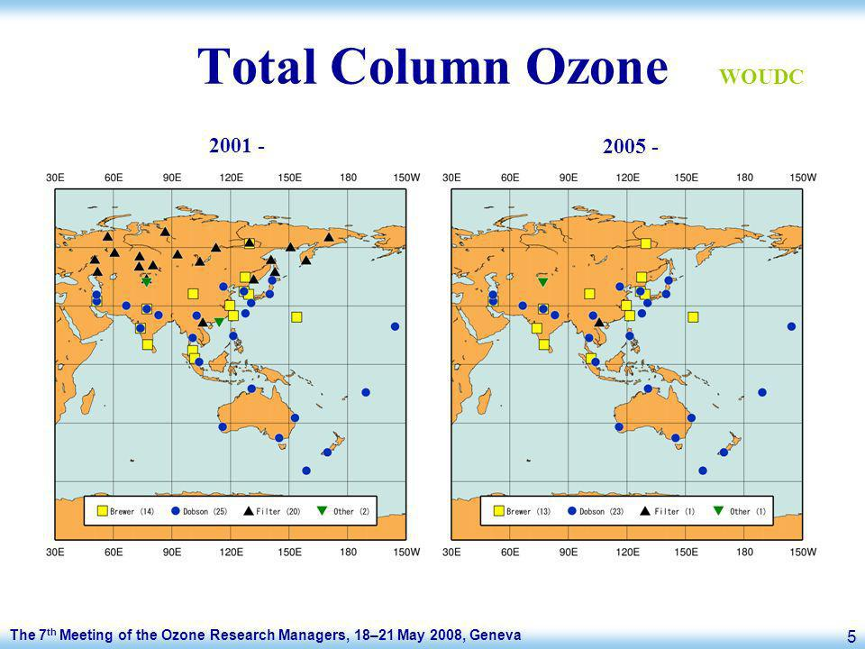 The 7 th Meeting of the Ozone Research Managers, 18–21 May 2008, Geneva 5 Total Column Ozone 2001 - 2005 - WOUDC