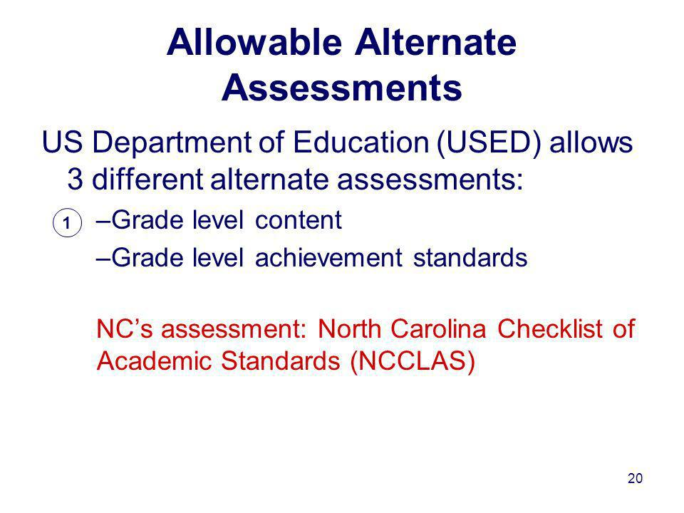 20 US Department of Education (USED) allows 3 different alternate assessments: –Grade level content –Grade level achievement standards NCs assessment: North Carolina Checklist of Academic Standards (NCCLAS) 1 Allowable Alternate Assessments