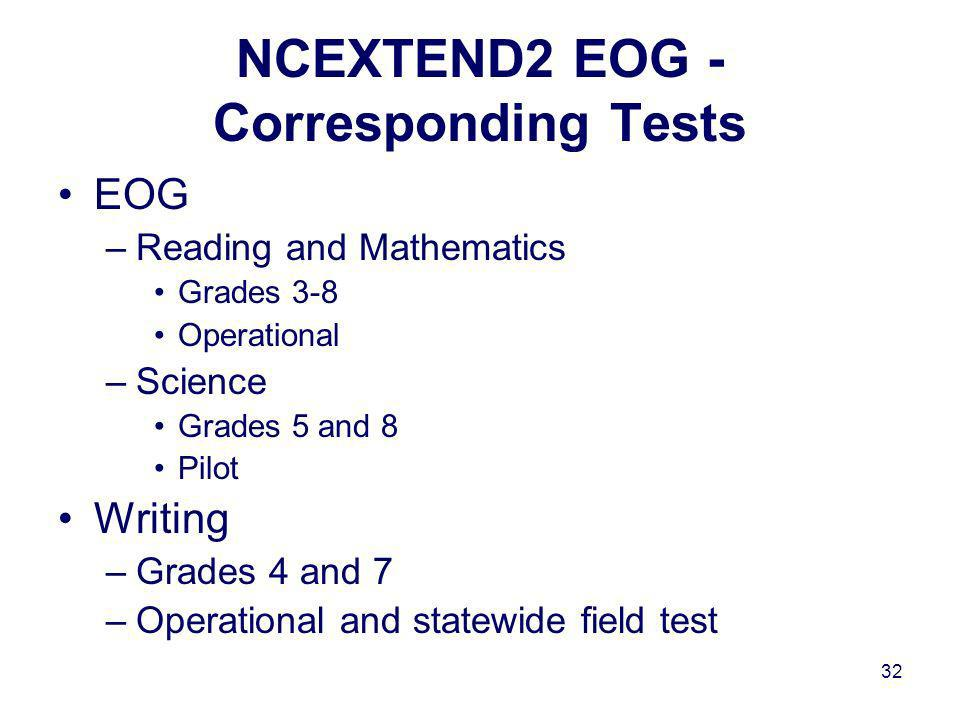 32 NCEXTEND2 EOG - Corresponding Tests EOG –Reading and Mathematics Grades 3-8 Operational –Science Grades 5 and 8 Pilot Writing –Grades 4 and 7 –Operational and statewide field test