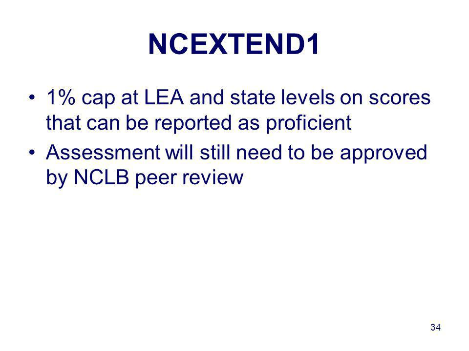 34 NCEXTEND1 1% cap at LEA and state levels on scores that can be reported as proficient Assessment will still need to be approved by NCLB peer review