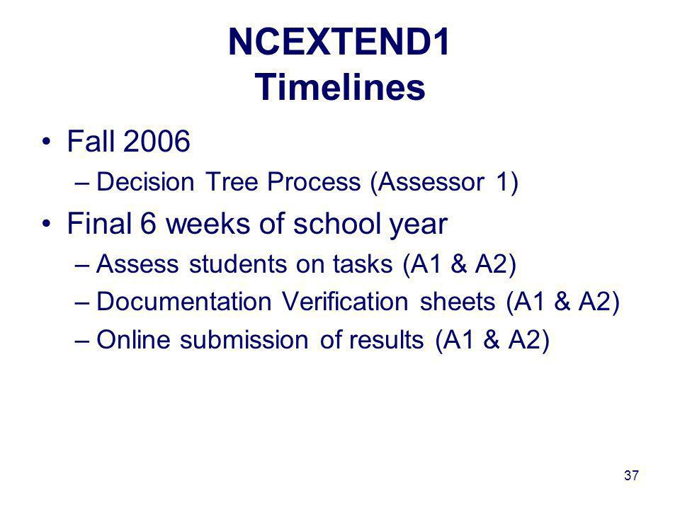 37 NCEXTEND1 Timelines Fall 2006 –Decision Tree Process (Assessor 1) Final 6 weeks of school year –Assess students on tasks (A1 & A2) –Documentation Verification sheets (A1 & A2) –Online submission of results (A1 & A2)