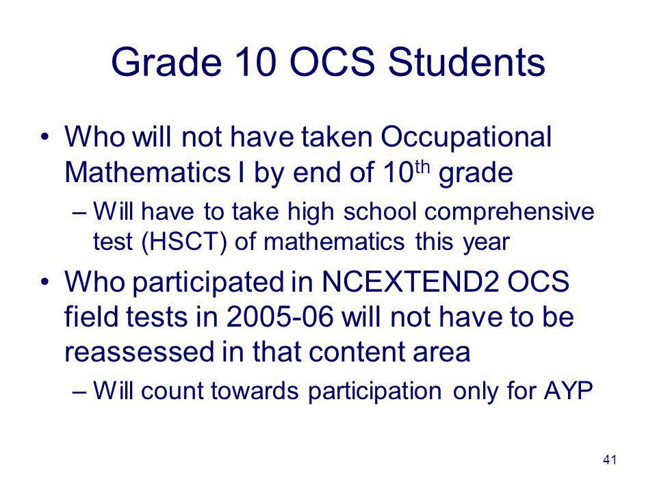41 Grade 10 OCS Students Who will not have taken Occupational Mathematics I by end of 10 th grade –Will have to take high school comprehensive test (HSCT) of mathematics this year Who participated in NCEXTEND2 OCS field tests in 2005-06 will not have to be reassessed in that content area –Will count towards participation only for AYP