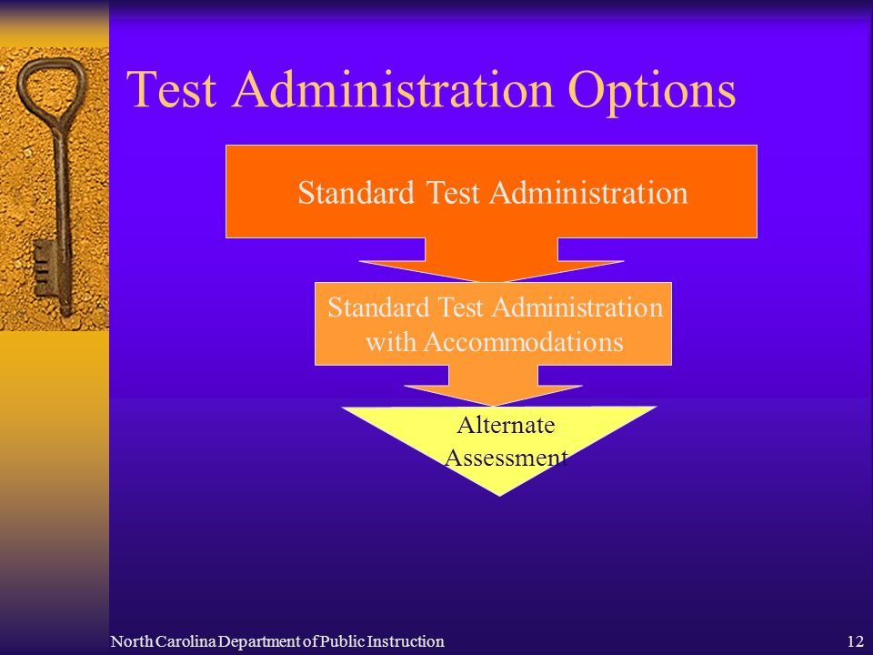 North Carolina Department of Public Instruction12 Test Administration Options Standard Test Administration Standard Test Administration with Accommodations Alternate Assessment