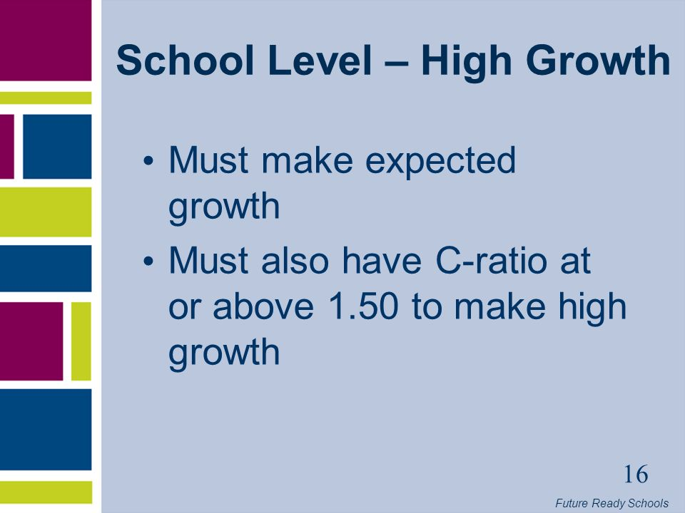 Future Ready Schools 16 School Level – High Growth Must make expected growth Must also have C-ratio at or above 1.50 to make high growth