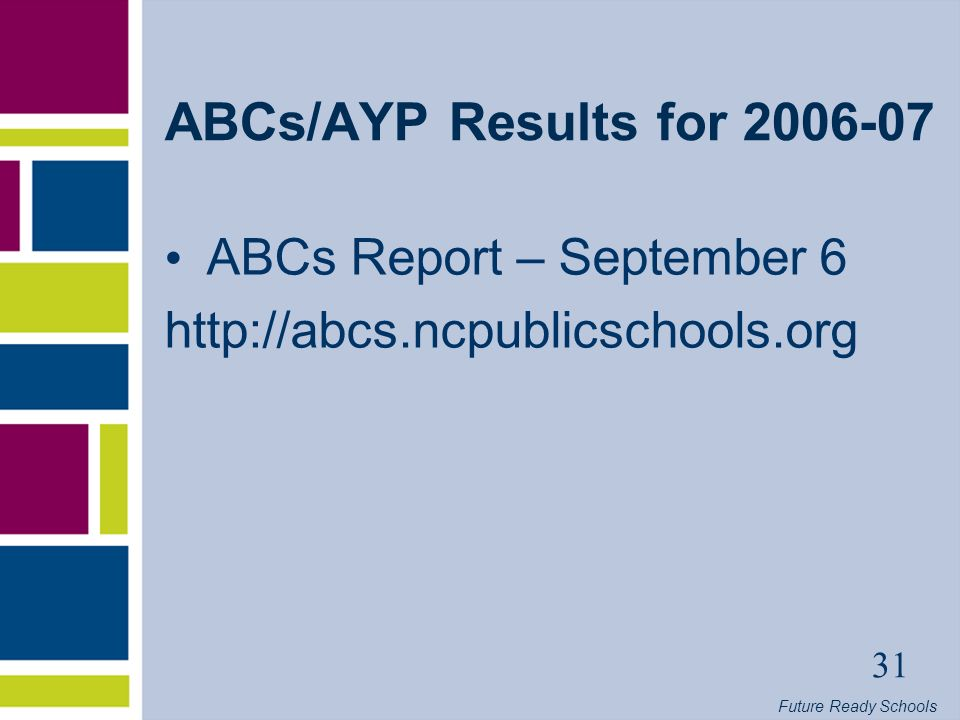 Future Ready Schools 31 ABCs/AYP Results for ABCs Report – September 6