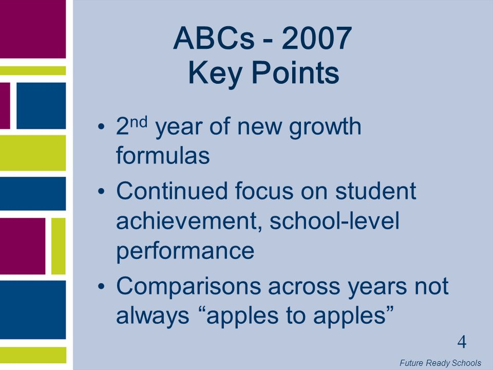 Future Ready Schools 4 ABCs Key Points 2 nd year of new growth formulas Continued focus on student achievement, school-level performance Comparisons across years not always apples to apples