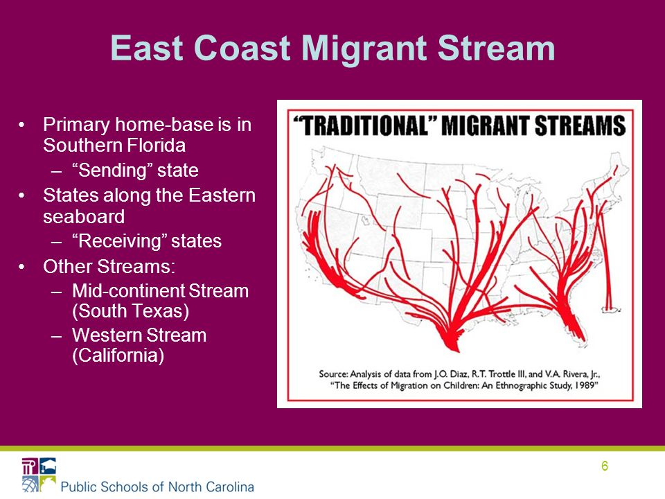 6 Primary home-base is in Southern Florida –Sending state States along the Eastern seaboard –Receiving states Other Streams: –Mid-continent Stream (South Texas) –Western Stream (California) East Coast Migrant Stream