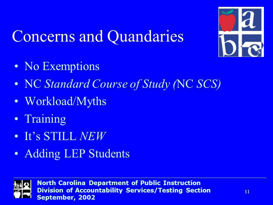 North Carolina Department of Public Instruction Division of Accountability Services/Testing Section September, Concerns and Quandaries No Exemptions NC Standard Course of Study (NC SCS) Workload/Myths Training Its STILL NEW Adding LEP Students