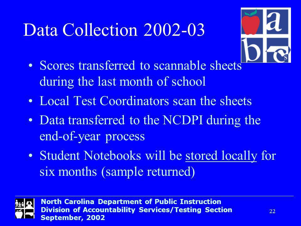 North Carolina Department of Public Instruction Division of Accountability Services/Testing Section September, Data Collection Scores transferred to scannable sheets during the last month of school Local Test Coordinators scan the sheets Data transferred to the NCDPI during the end-of-year process Student Notebooks will be stored locally for six months (sample returned)