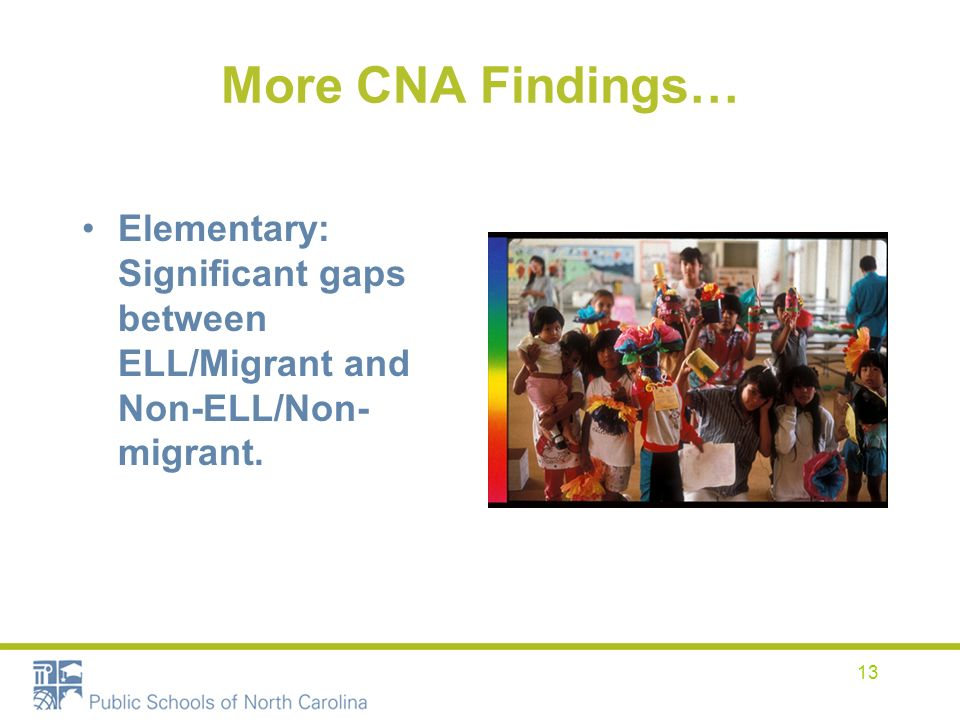 13 More CNA Findings… Elementary: Significant gaps between ELL/Migrant and Non-ELL/Non- migrant.