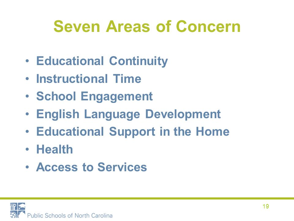 19 Seven Areas of Concern Educational Continuity Instructional Time School Engagement English Language Development Educational Support in the Home Health Access to Services