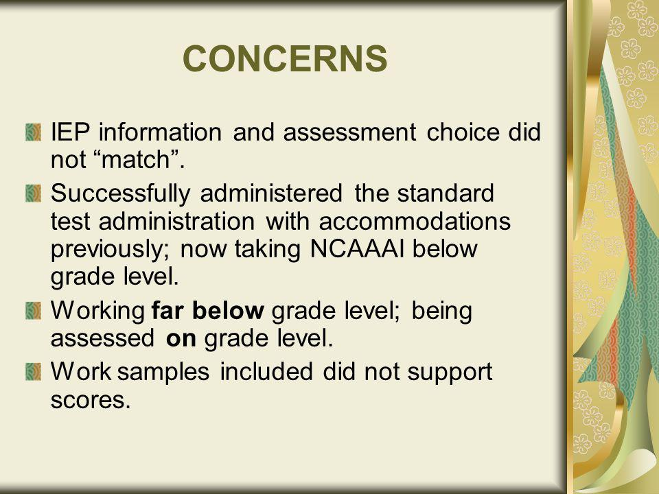 CONCERNS IEP information and assessment choice did not match.