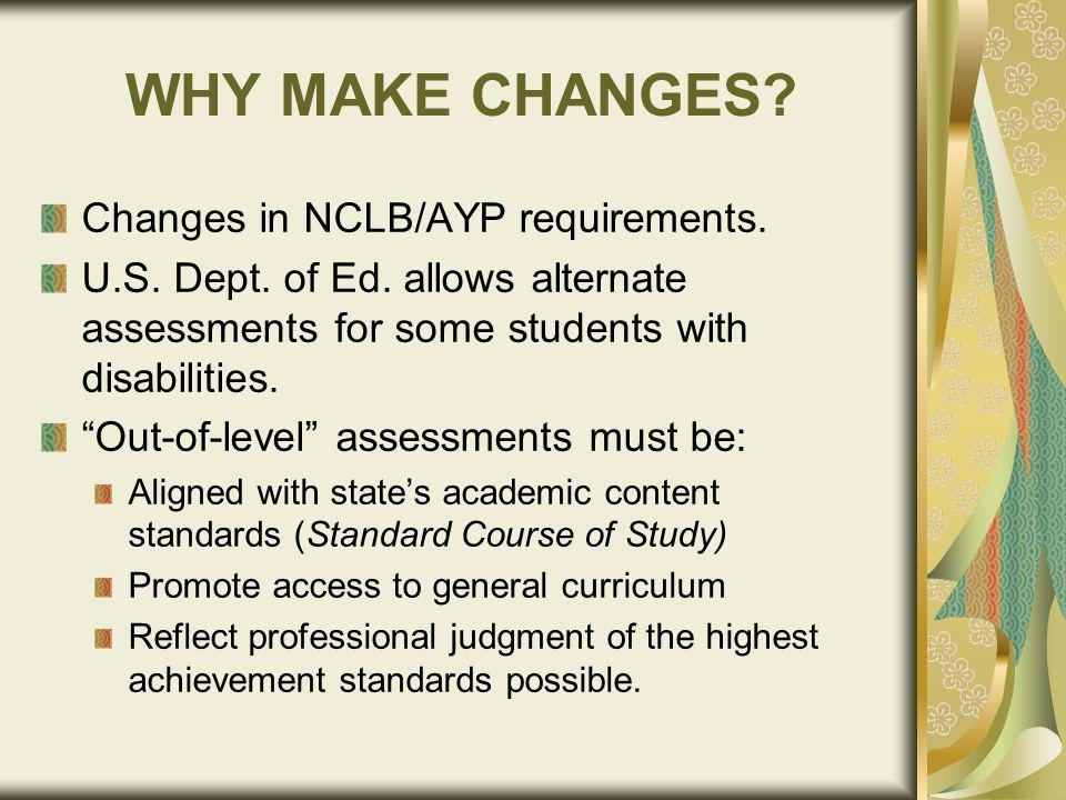 WHY MAKE CHANGES. Changes in NCLB/AYP requirements.
