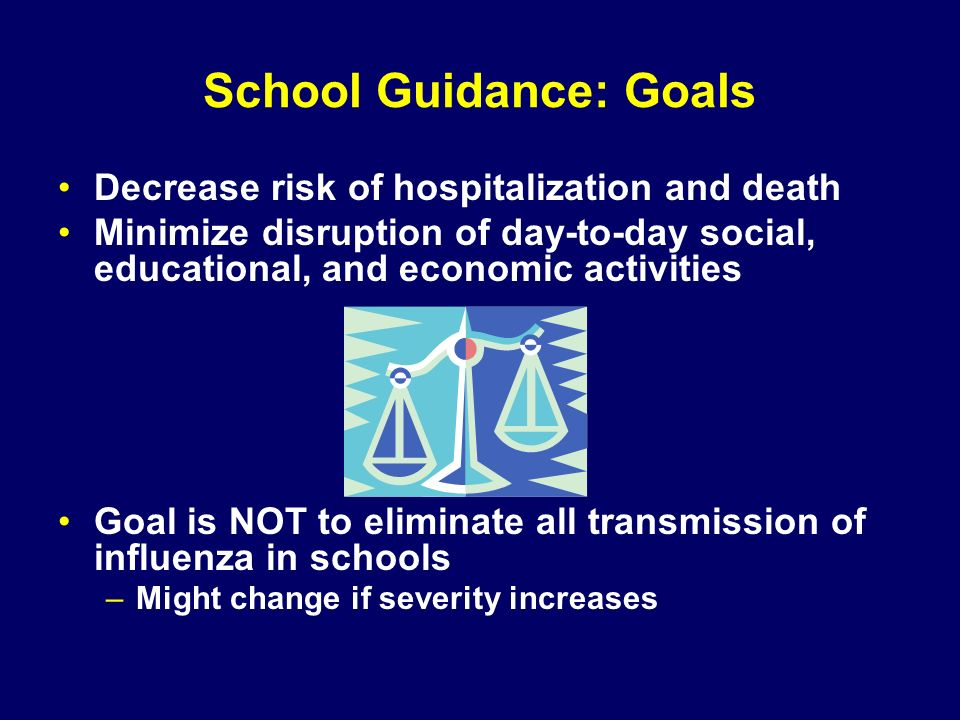 School Guidance: Goals Decrease risk of hospitalization and death Minimize disruption of day-to-day social, educational, and economic activities Goal is NOT to eliminate all transmission of influenza in schools –Might change if severity increases