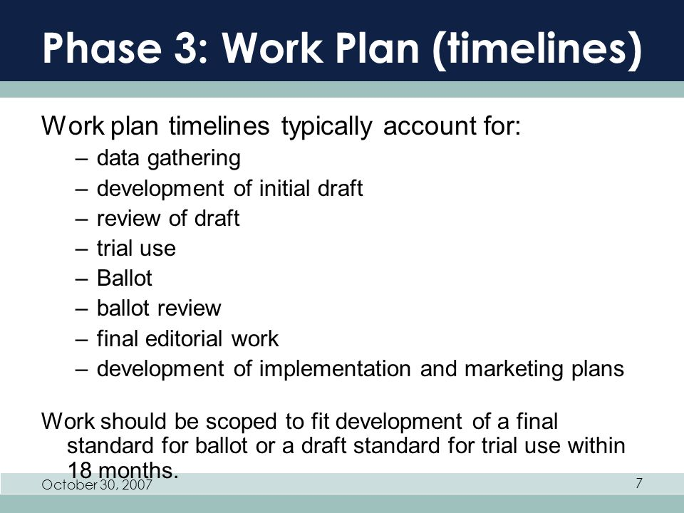 October 30, Phase 3: Work Plan (timelines) Work plan timelines typically account for: –data gathering –development of initial draft –review of draft –trial use –Ballot –ballot review –final editorial work –development of implementation and marketing plans Work should be scoped to fit development of a final standard for ballot or a draft standard for trial use within 18 months.