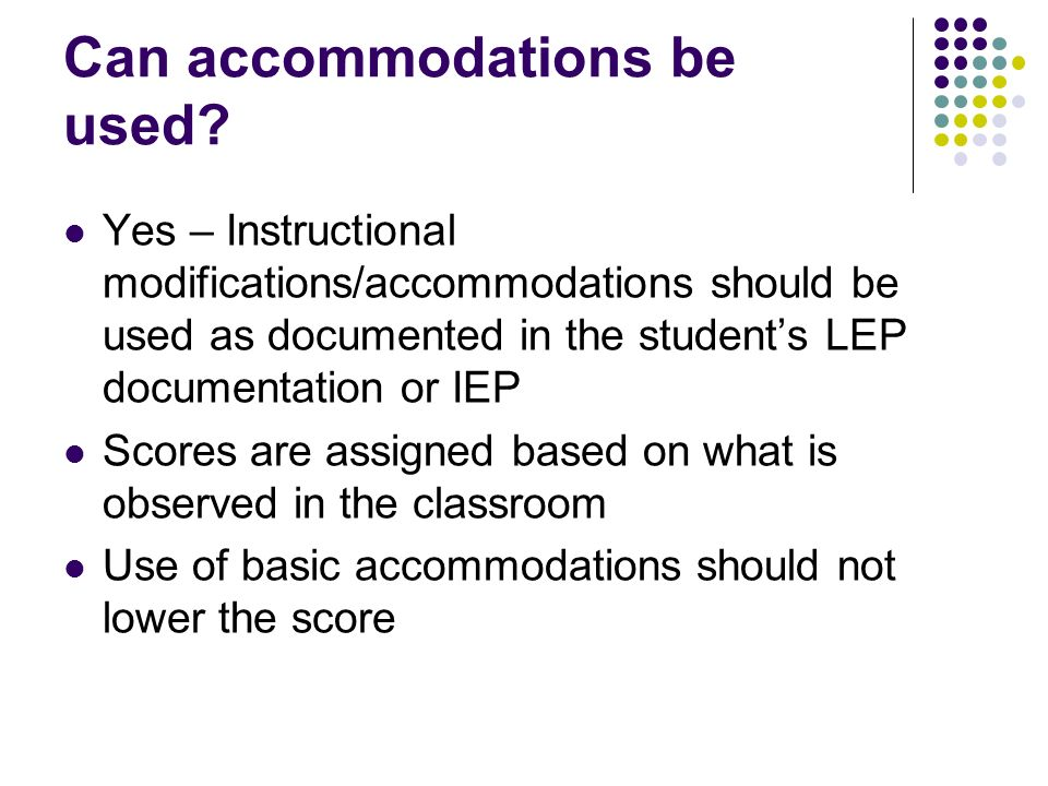 Can accommodations be used.