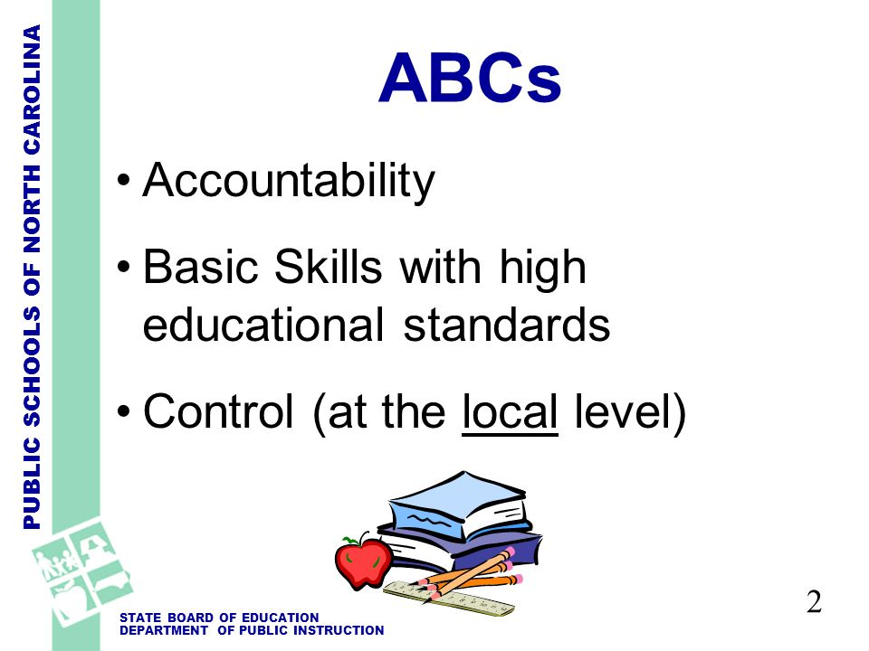 PUBLIC SCHOOLS OF NORTH CAROLINA STATE BOARD OF EDUCATION DEPARTMENT OF PUBLIC INSTRUCTION ABCs Accountability Basic Skills with high educational standards Control (at the local level) 2