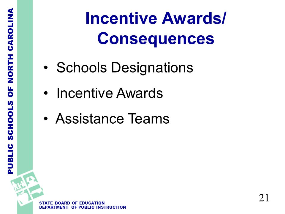 PUBLIC SCHOOLS OF NORTH CAROLINA STATE BOARD OF EDUCATION DEPARTMENT OF PUBLIC INSTRUCTION Incentive Awards/ Consequences Schools Designations Incentive Awards Assistance Teams 21