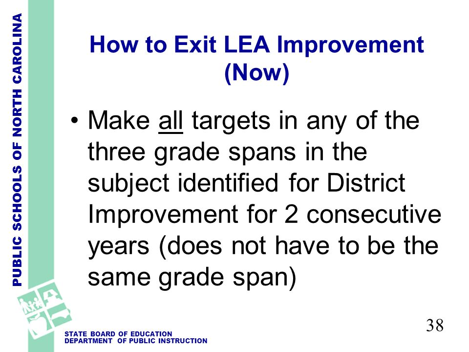 PUBLIC SCHOOLS OF NORTH CAROLINA STATE BOARD OF EDUCATION DEPARTMENT OF PUBLIC INSTRUCTION 38 How to Exit LEA Improvement (Now) Make all targets in any of the three grade spans in the subject identified for District Improvement for 2 consecutive years (does not have to be the same grade span)