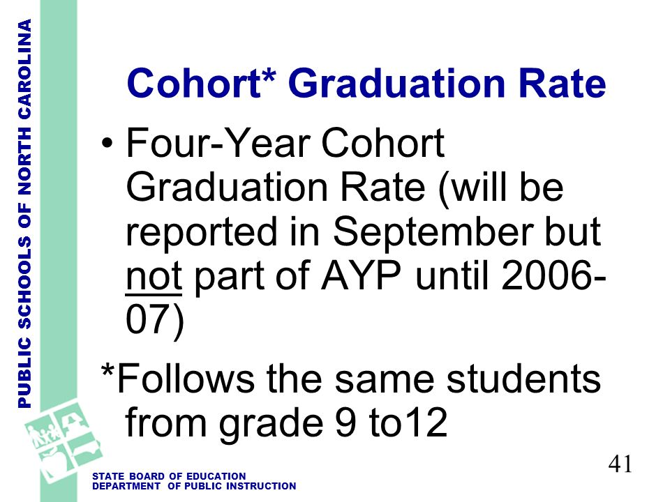 PUBLIC SCHOOLS OF NORTH CAROLINA STATE BOARD OF EDUCATION DEPARTMENT OF PUBLIC INSTRUCTION 41 Cohort* Graduation Rate Four-Year Cohort Graduation Rate (will be reported in September but not part of AYP until 2006- 07) *Follows the same students from grade 9 to12