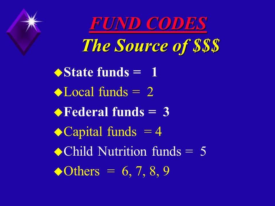 FUND CODES The Source of $$$ u State funds = 1 u Local funds = 2 u Federal funds = 3 u Capital funds = 4 u Child Nutrition funds = 5 u Others = 6, 7, 8, 9