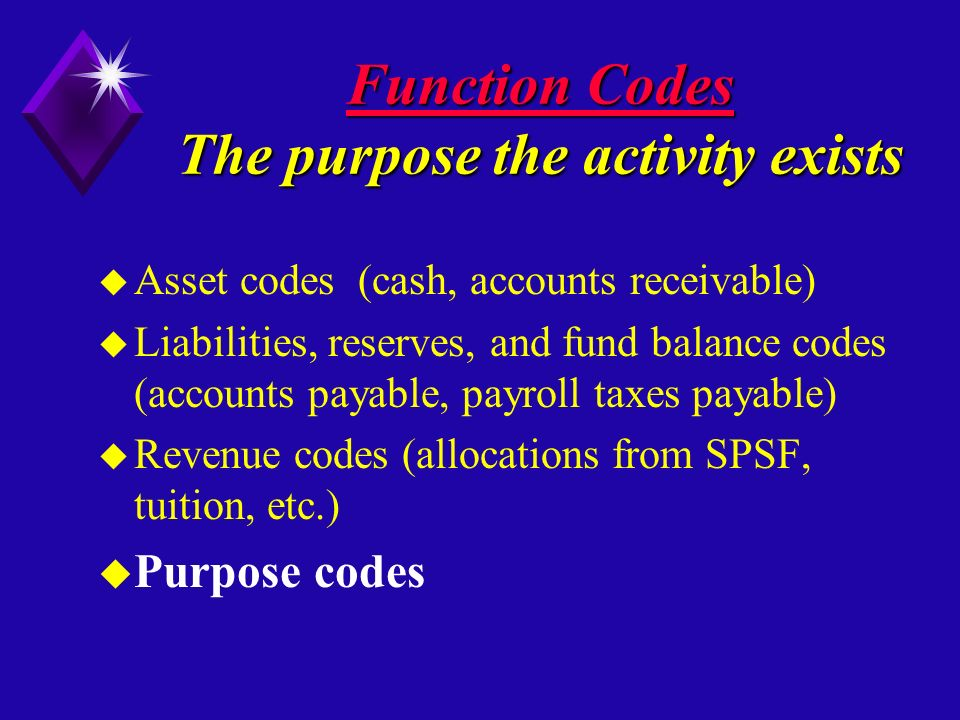 Function Codes The purpose the activity exists u Asset codes (cash, accounts receivable) u Liabilities, reserves, and fund balance codes (accounts payable, payroll taxes payable) u Revenue codes (allocations from SPSF, tuition, etc.) u Purpose codes