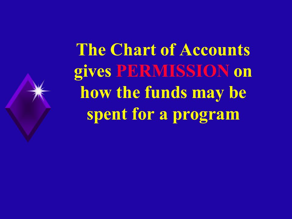 The Chart of Accounts gives PERMISSION on how the funds may be spent for a program