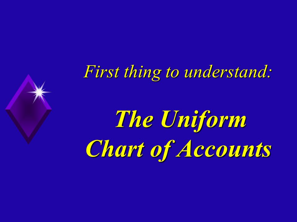 First thing to understand: The Uniform Chart of Accounts
