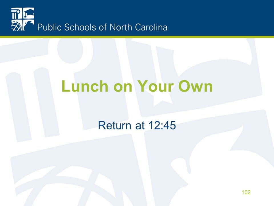 Lunch on Your Own Return at 12:45 102