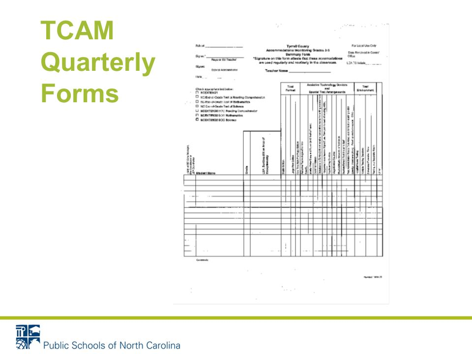 TCAM Quarterly Forms