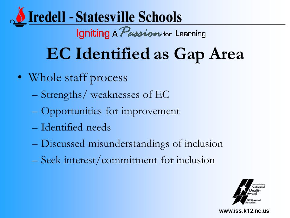 www.iss.k12.nc.us EC Identified as Gap Area Whole staff process –Strengths/ weaknesses of EC –Opportunities for improvement –Identified needs –Discussed misunderstandings of inclusion –Seek interest/commitment for inclusion