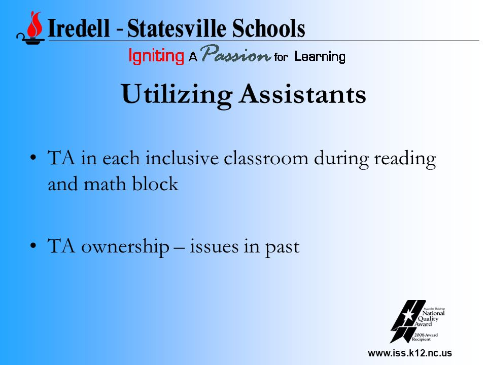 www.iss.k12.nc.us Utilizing Assistants TA in each inclusive classroom during reading and math block TA ownership – issues in past