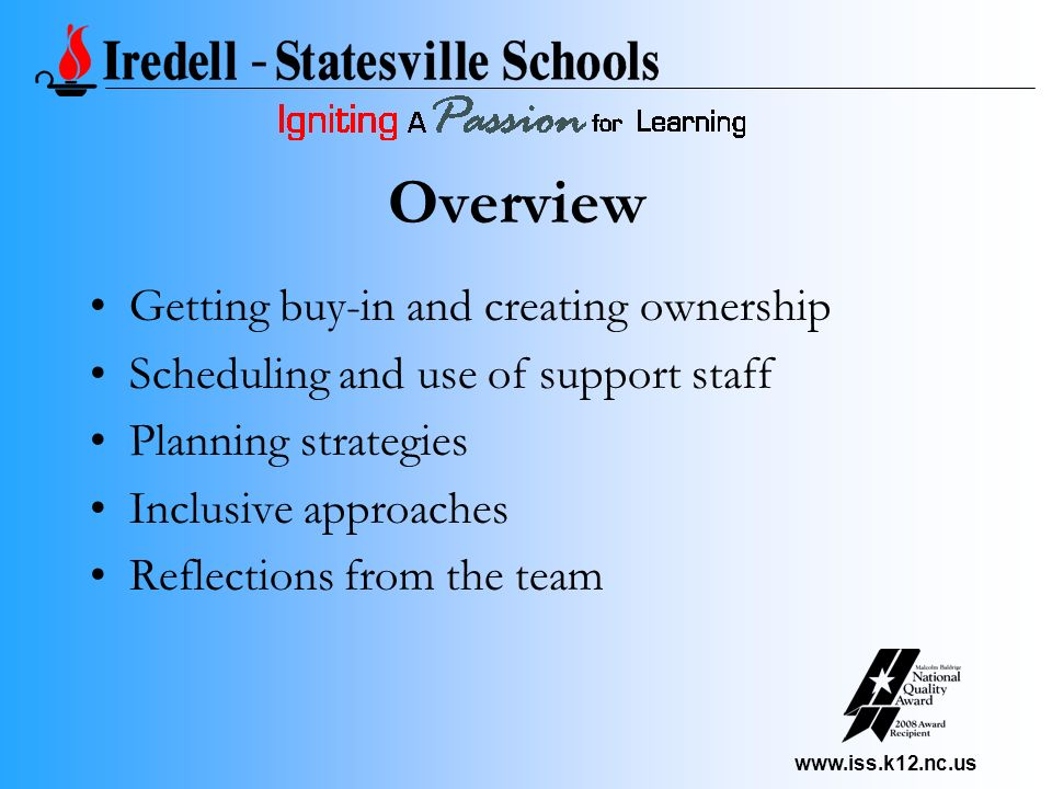 www.iss.k12.nc.us Getting buy-in and creating ownership Scheduling and use of support staff Planning strategies Inclusive approaches Reflections from the team Overview