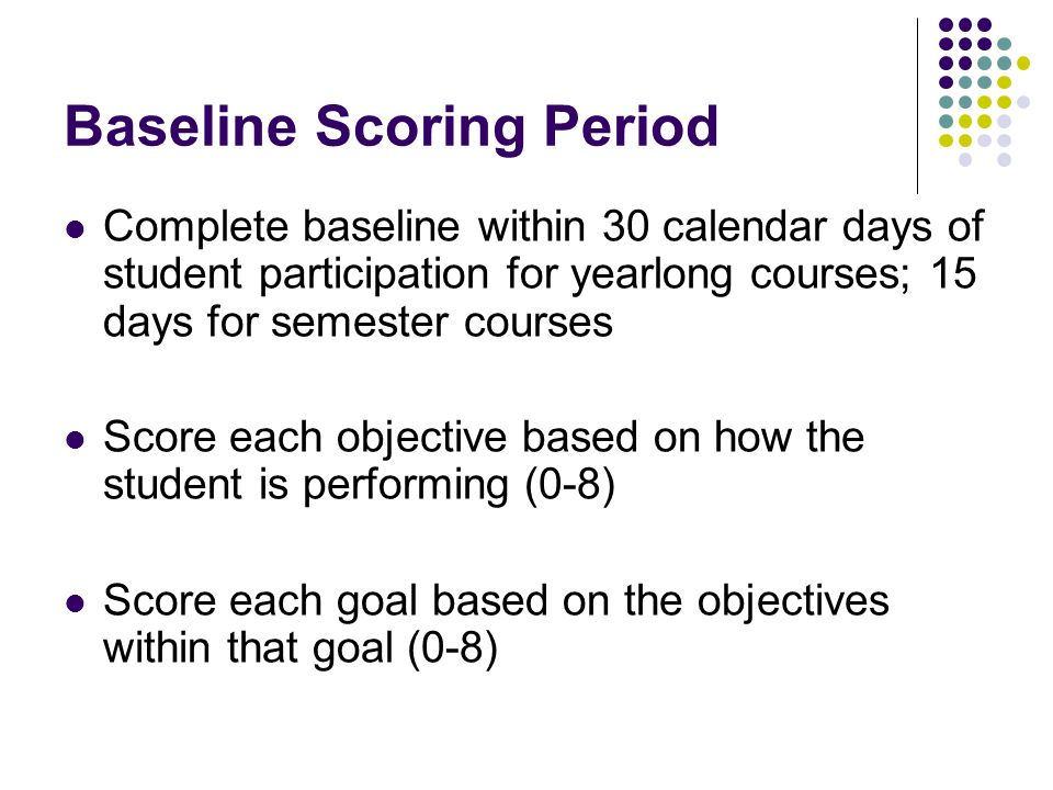 Baseline Scoring Period Complete baseline within 30 calendar days of student participation for yearlong courses; 15 days for semester courses Score each objective based on how the student is performing (0-8) Score each goal based on the objectives within that goal (0-8)