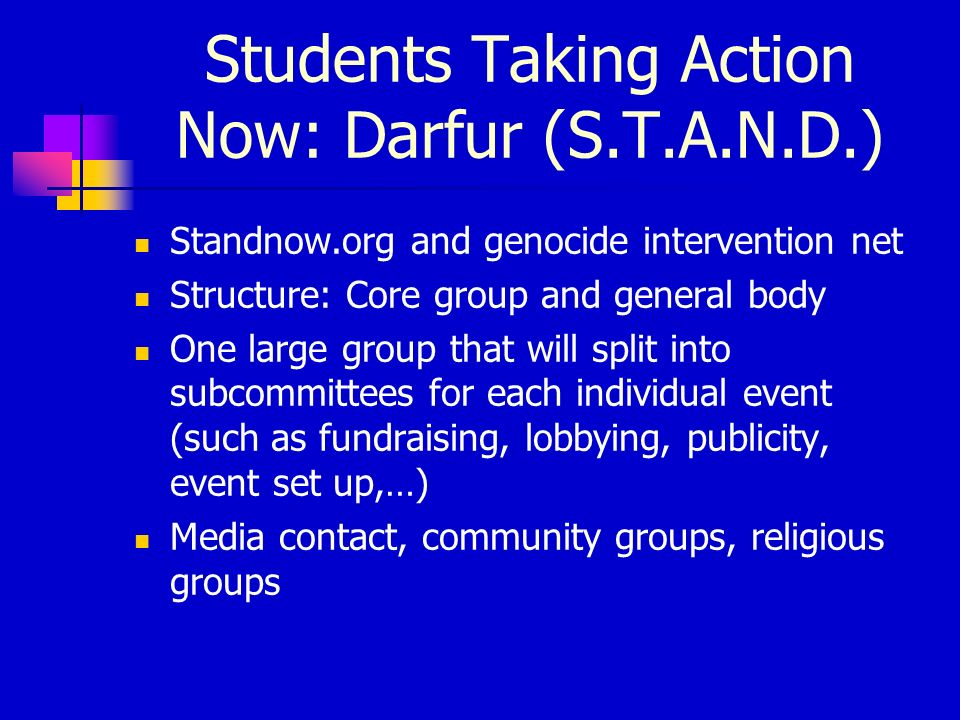 Students Taking Action Now: Darfur (S.T.A.N.D.) Standnow.org and genocide intervention net Structure: Core group and general body One large group that will split into subcommittees for each individual event (such as fundraising, lobbying, publicity, event set up,…) Media contact, community groups, religious groups