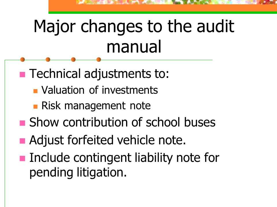 Major changes to the audit manual Technical adjustments to: Valuation of investments Risk management note Show contribution of school buses Adjust forfeited vehicle note.