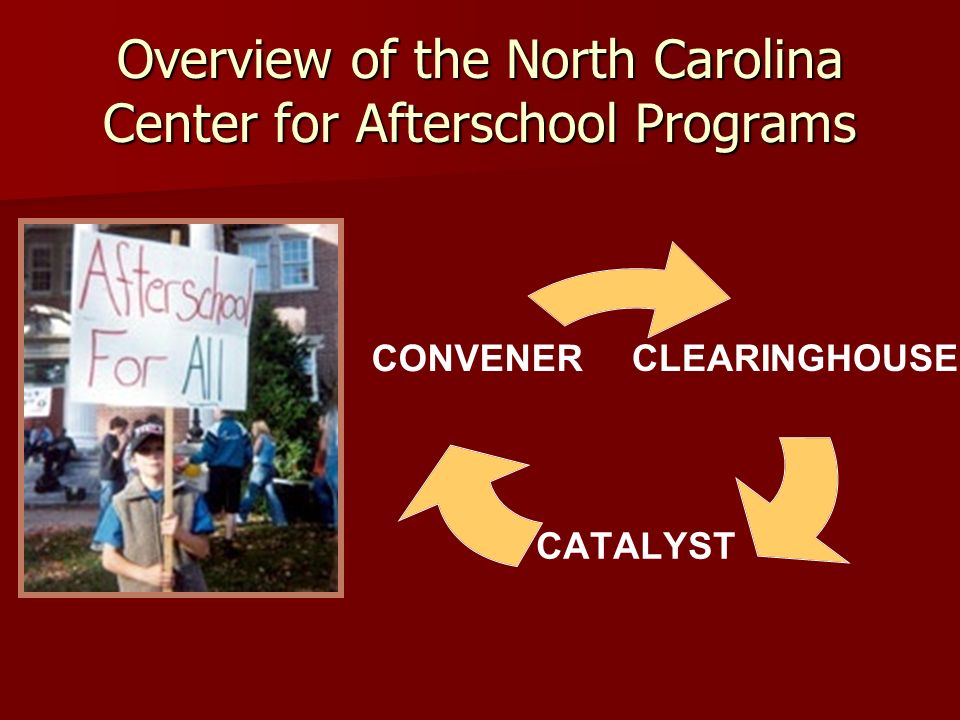 Overview of the North Carolina Center for Afterschool Programs CLEARINGHOUSE CATALYST CONVENER