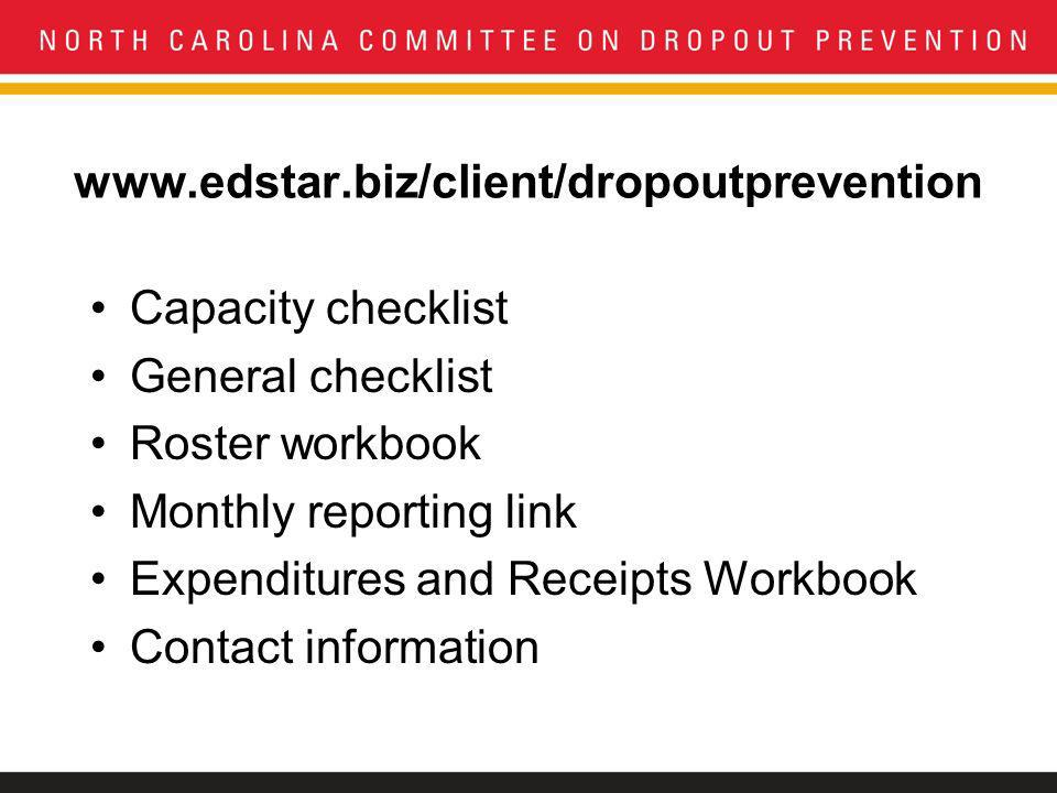 www.edstar.biz/client/dropoutprevention Capacity checklist General checklist Roster workbook Monthly reporting link Expenditures and Receipts Workbook Contact information