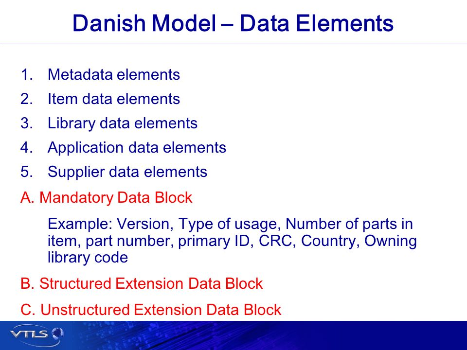 Visionary Technology in Library Solutions Danish Model – Data Elements 1.Metadata elements 2.Item data elements 3.Library data elements 4.Application data elements 5.Supplier data elements A.