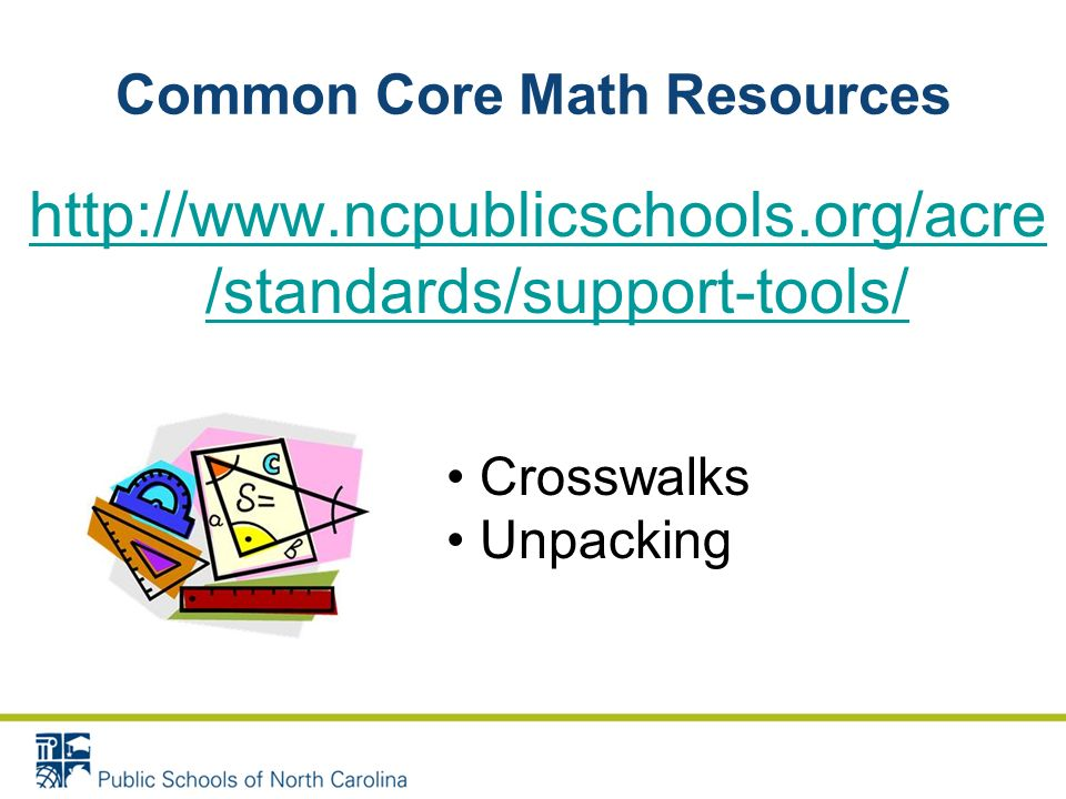Common Core Math Resources http://www.ncpublicschools.org/acre /standards/support-tools/ Crosswalks Unpacking