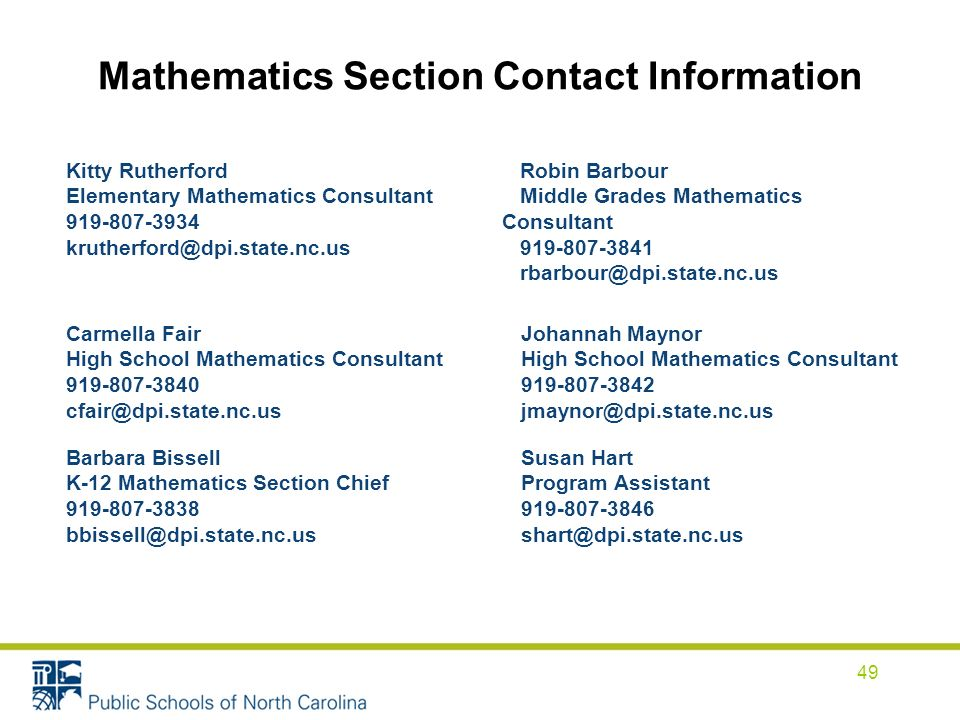 Mathematics Section Contact Information 49 Kitty Rutherford Elementary Mathematics Consultant 919-807-3934 krutherford@dpi.state.nc.us Robin Barbour Middle Grades Mathematics Consultant 919-807-3841 rbarbour@dpi.state.nc.us Carmella Fair High School Mathematics Consultant 919-807-3840 cfair@dpi.state.nc.us Johannah Maynor High School Mathematics Consultant 919-807-3842 jmaynor@dpi.state.nc.us Barbara Bissell K-12 Mathematics Section Chief 919-807-3838 bbissell@dpi.state.nc.us Susan Hart Program Assistant 919-807-3846 shart@dpi.state.nc.us